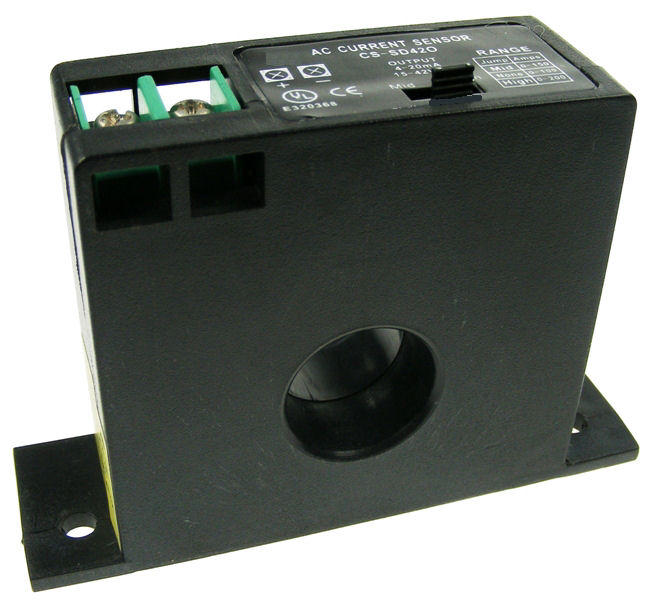 Solid Core Current Sensor 4-20mA output - Range 0...10/20/50A with true RMS output for use with variable speed drives