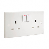 British General 900 Series 13A 2-Gang DP Switched Plug Socket White - Used with the emergency lighting kit